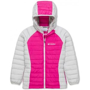 Columbia POWDER LITE GIRLS HOODED JACKET ružová S - Dievčenská  bunda