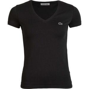 Lacoste V NECK SS T-SHIRT čierna S - Dámske tričko