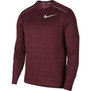 Nike DF MILER LS FLASH NV M vínová S - Pánske tričko s dlhým rukávom