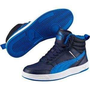 Puma REBOUND STREET V2 FUR JR modrá 3.5 - Detská zimná obuv