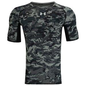 Under Armour ARMOUR HG PRINT SS čierna S - Pánske kompresné tričko